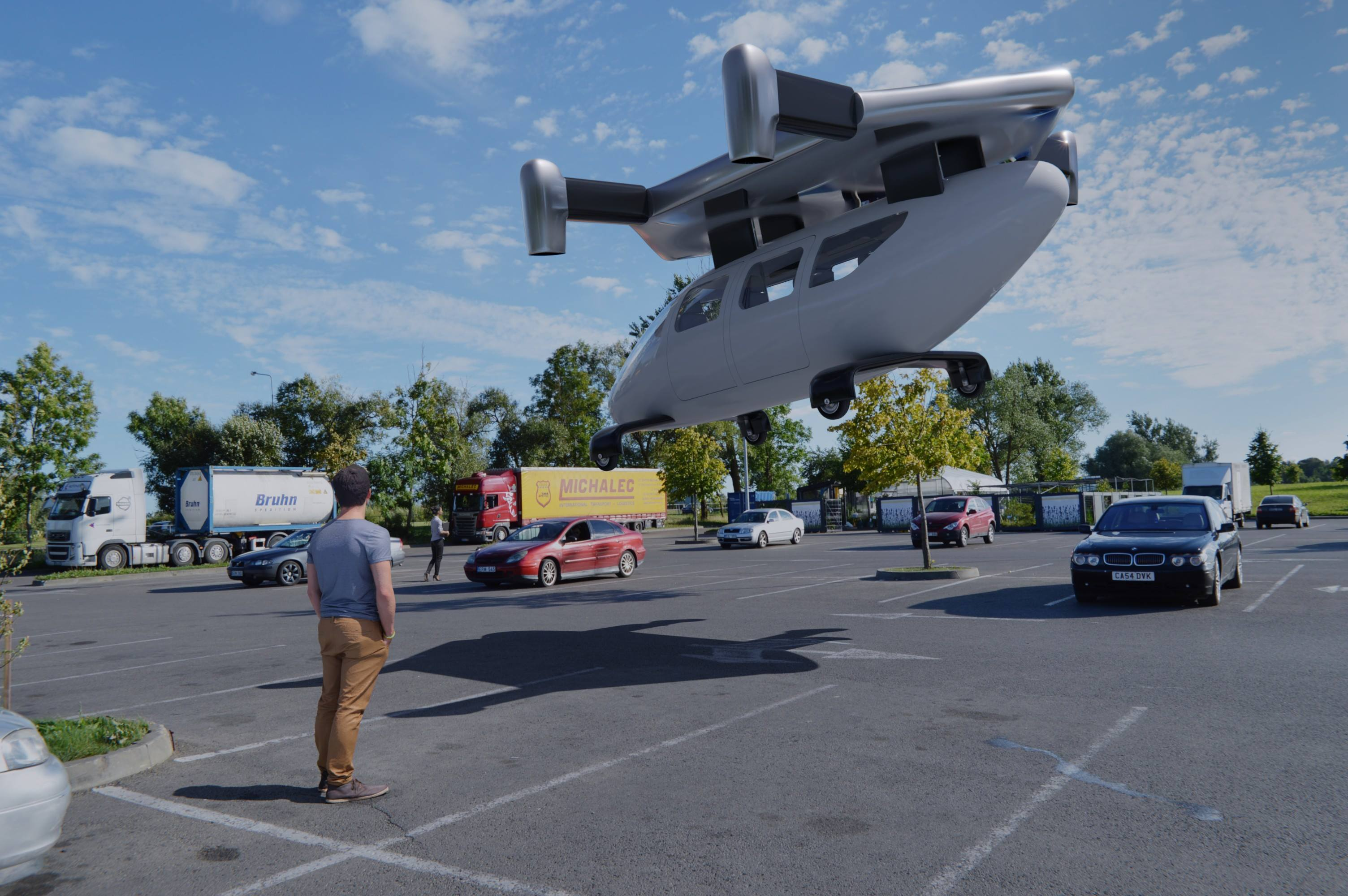 Jetcopter landing in a parking lot