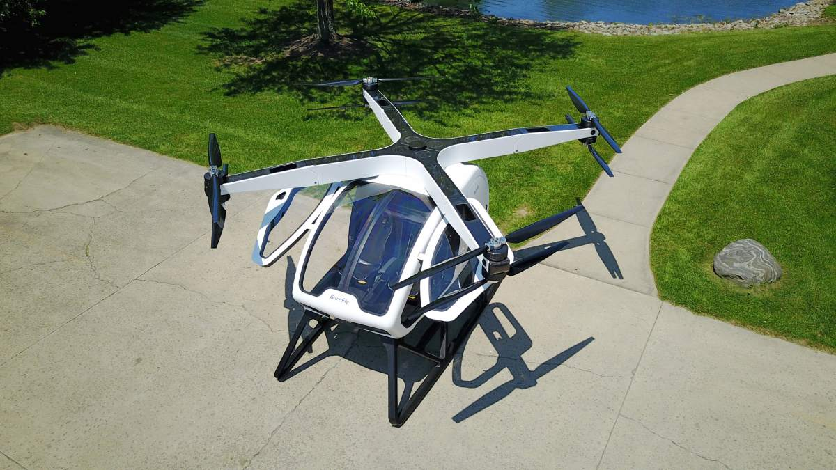 Surefly octocopter eVTOL hybrid electric air taxi
