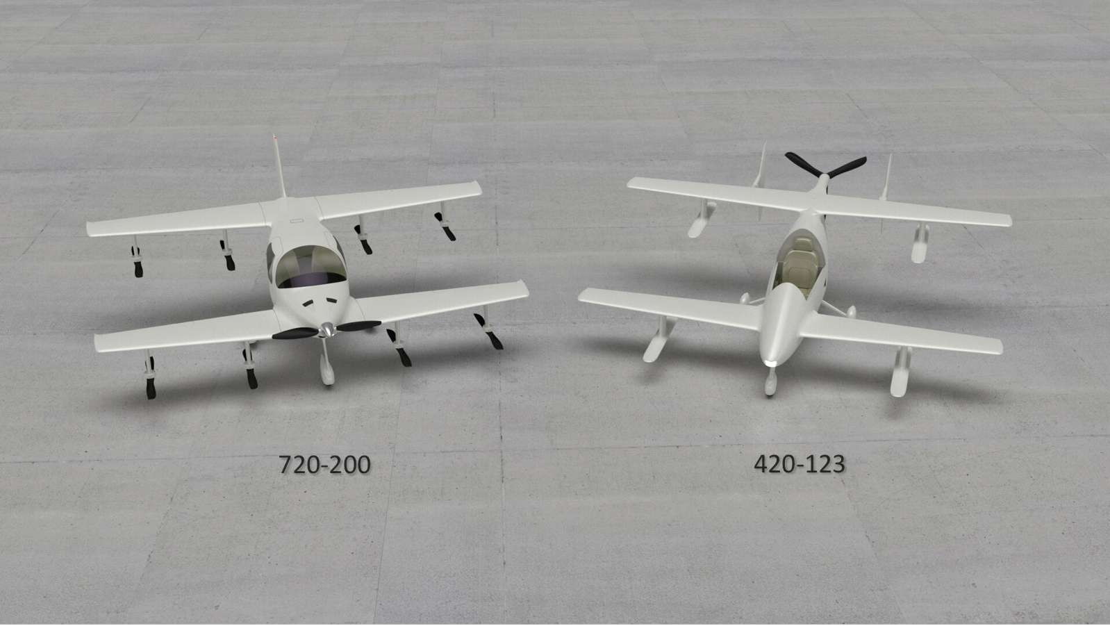 The newer 720-200 'family' eVTOL (left) positioned next to Flyter's first model, the 420-120 eVTOL