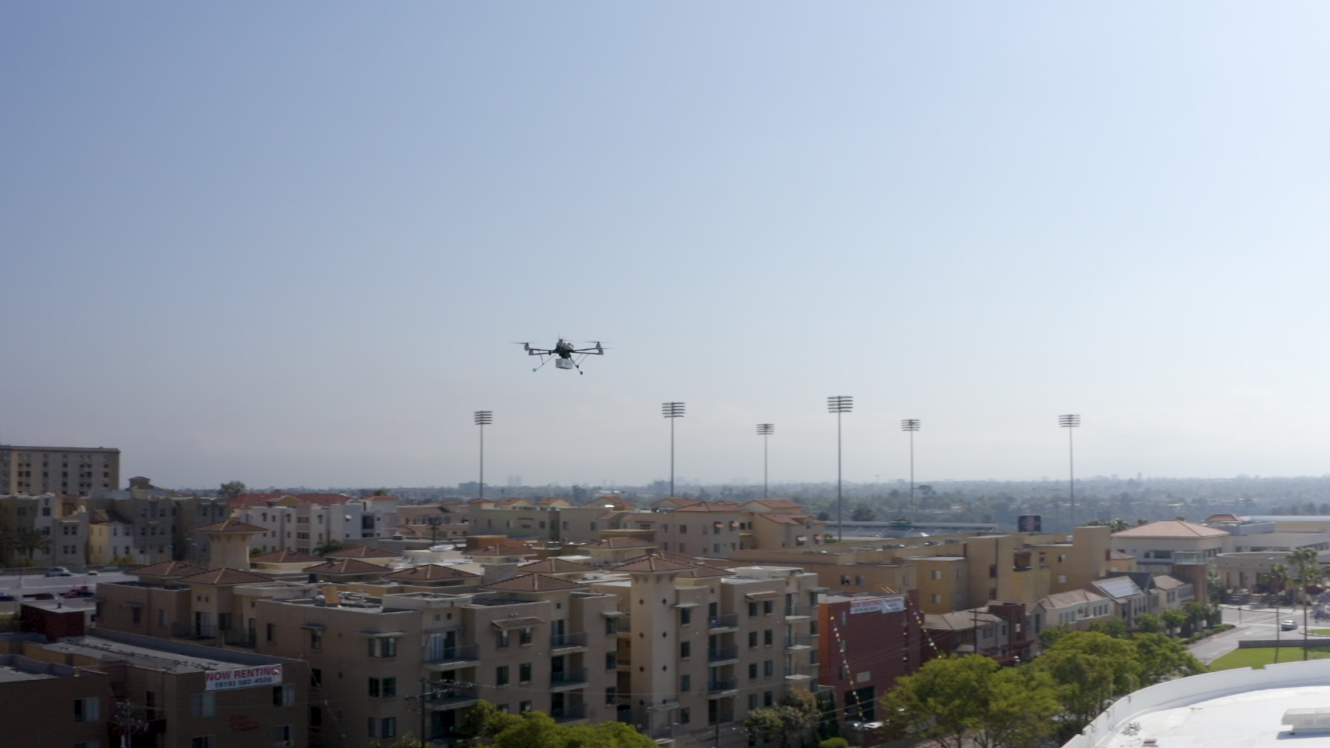 Uber Eats Drone in flight over the University of San Diego
