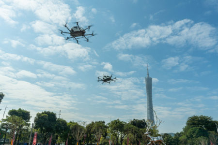2 EHang passenger-grade AAVs performed simultaneous flight in the downtown area and CBD of Guangzhou city, near the landmark of Canton Tower and LIEDE Bridge where are must-see sightseeing place for all tourists in Guangzhou.