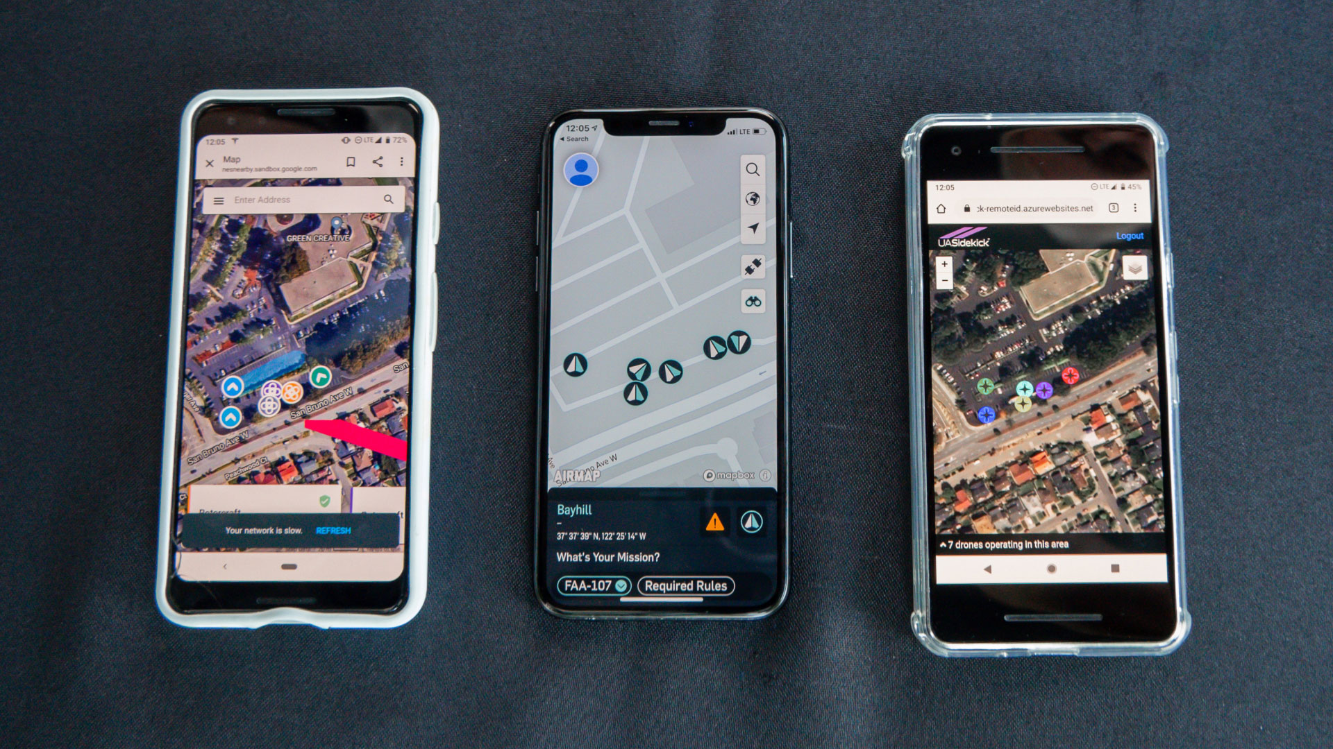 Wing (left), AirMap (center), and UASidekick (right) remote ID applications visualize 6 unique drone operations across multiple USS. Image courtesy of Wing.
