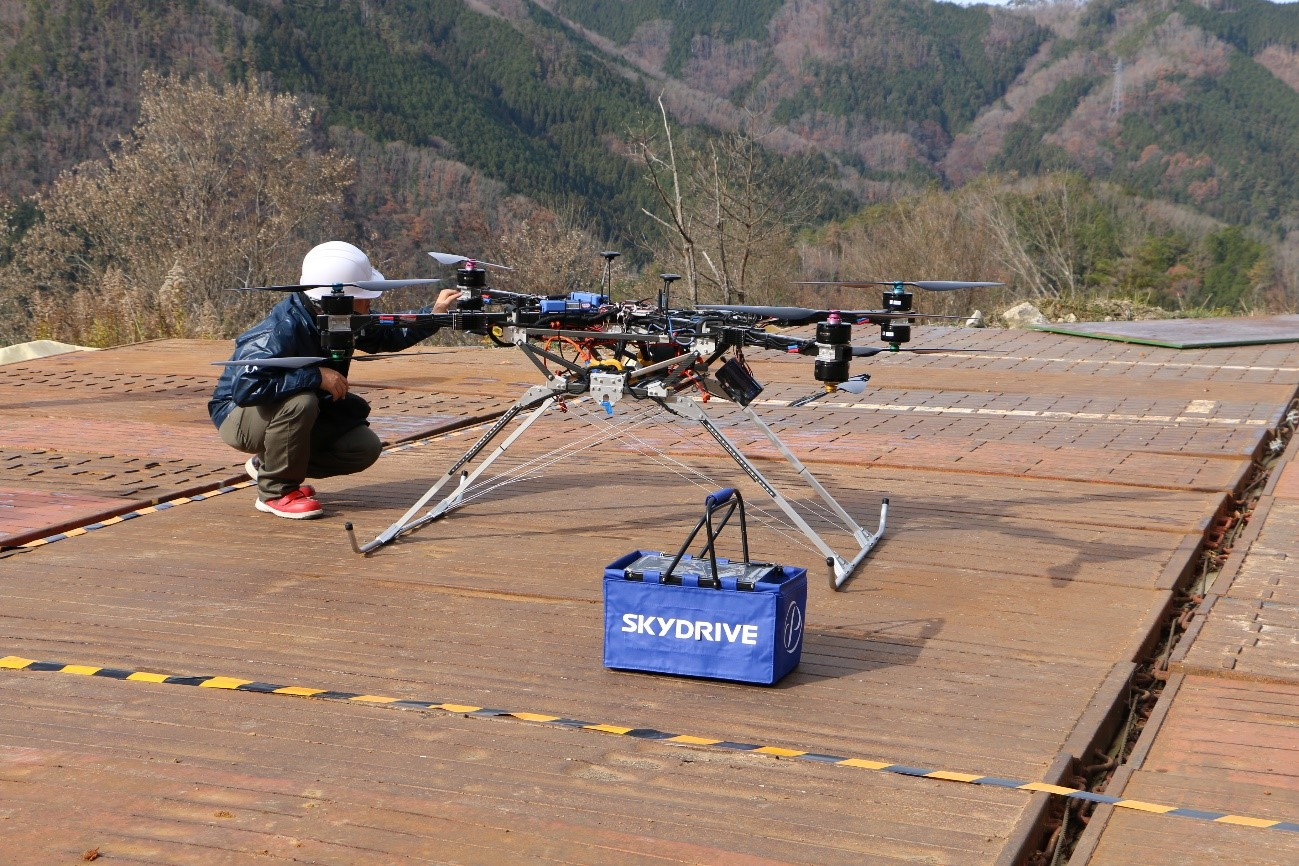 SkyDrive's drone prototype which successfully flew a 44 pound payload.